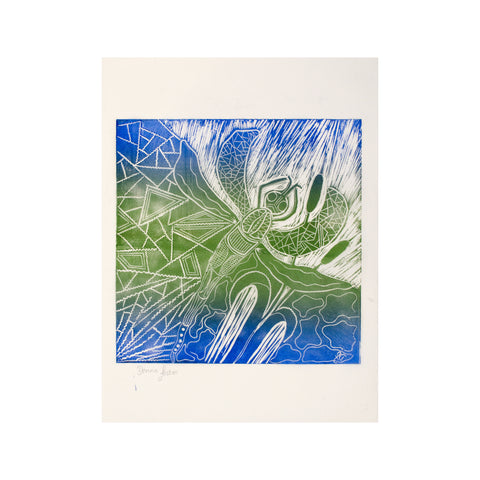 Untitled (Blue Green) FRAMED, Lino Print - Donna Foster / Tucker. My Country. My Culture