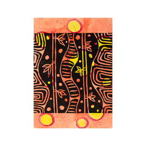 Untitled (Orange painted), Lino Print - Janine Cooper / Tucker. My Country. My Culture