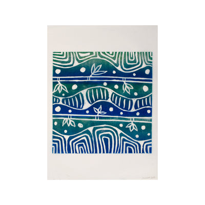 Untitled (Blue-Green) FRAMED, Lino Print - Janine Cooper / Tucker. My Country. My Culture