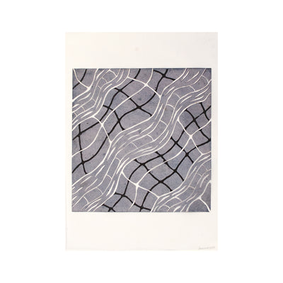 Untitled (Grey) FRAMED, Lino Print - Janine Cooper / Tucker. My Country. My Culture