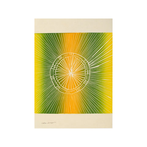 Untitled (Yellow & Green)FRAMED, Lino Print - Nola Jimarin / Tucker. My Country. My Culture