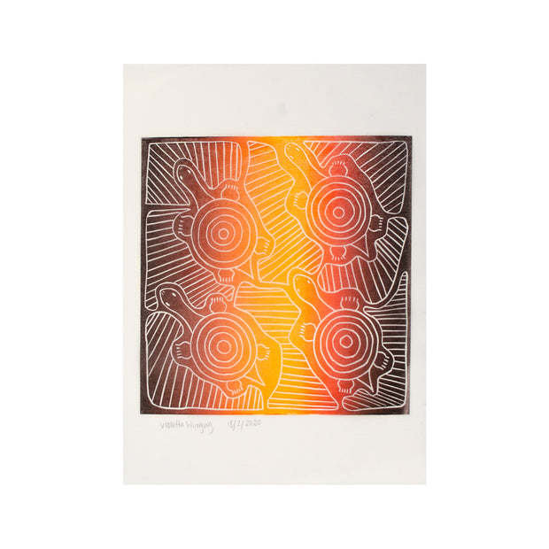Untitled (Black & Sunset) FRAMED, Lino Print - Violetta Wungung/ Tucker. My Country. My Culture