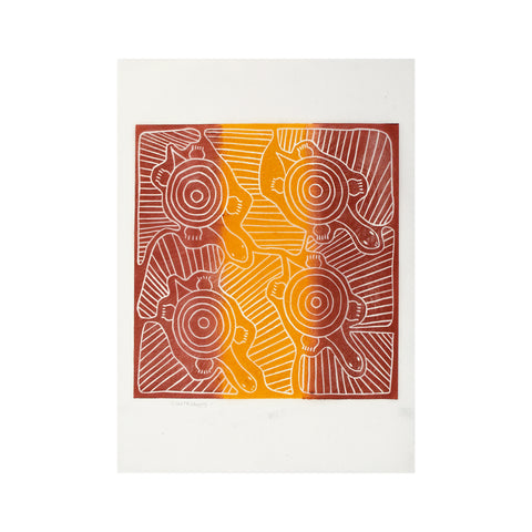 Untitled (Red & Yellow), Lino Print - Violetta Wungung/ Tucker. My Country. My Culture