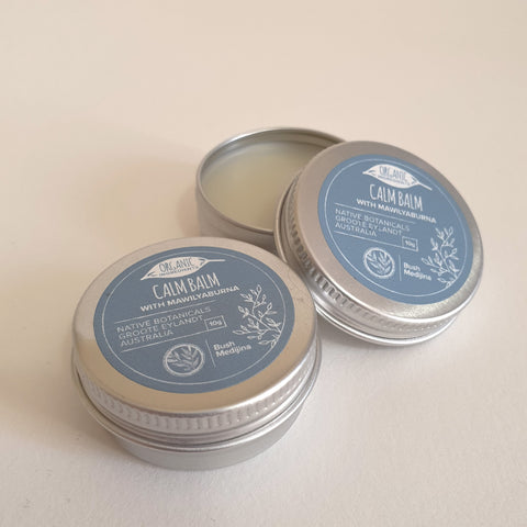 Hand-harvested on Groote Eylandt, Mawilyaburna (Liniment) leaves are infused with organic coconut oil, and lemongrass and peppermint essential oils, to create  Calm Balm. Used by elders for centuries, Mawilyaburna leaves are sourced and collected in the Eylandt wetlands by the Bush Medijina team.
