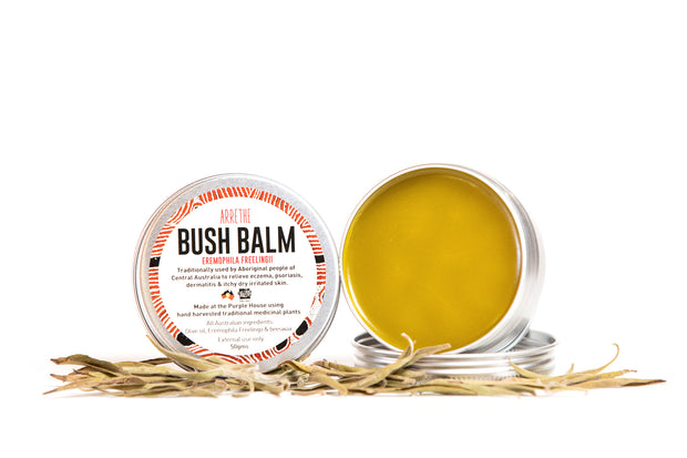 Bush Balm made with arrethe for protecting and soothing dry skin, eczema, cuts, sores, burns and bruising. Also a good general moisturiser.