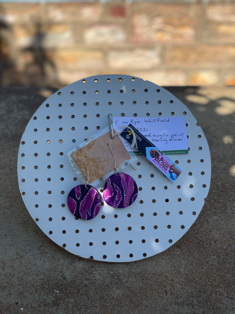 Handmade, Painted Purples, Ironwood Earrings, by Kym Whitfield, CDP Adelaide River