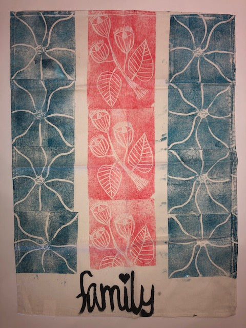 Lino Printed Tea Towel 100% Linen - Tucker. My Country My Culture