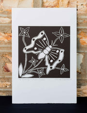 """Butterfly and Bush Flowers"" Print by Katrina Simpson"