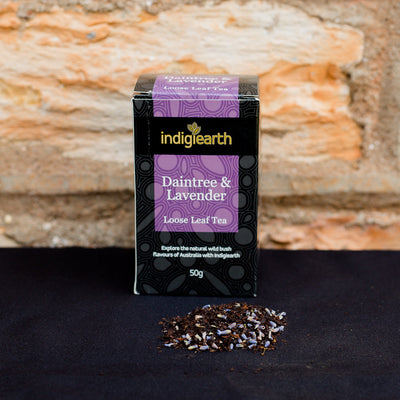 Daintree & Lavender blends a medium bodied loose leaf black tea, grown in Queensland's Daintree region, with calming Lavender from Tasmania and the sweet scented taste of relaxing chamomile flowers.