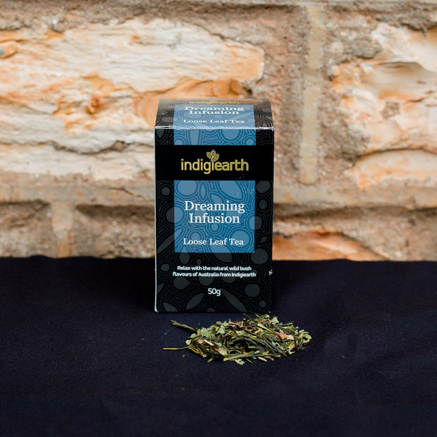 Blended especially for night time use, this calming, warming infusion blend uses crushed leaves from Australian native Cinnamon and Lemon Myrtles with petals from Wild Rosella flowers on a certified organic green tea base