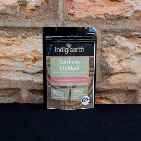 Saltbush Dukkah is an exotic middle eastern blend with macadamia, pepperleaf & dried saltbush leaves.