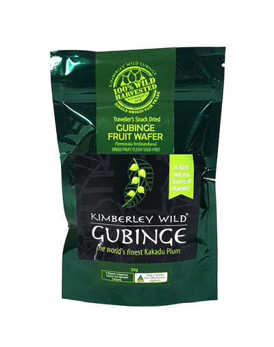 Kimberley Wild Gubinge Wafers are the ultimate superfood snack. They are a delicate, crisp, tangy wafer that is loaded with Vitamin C and antioxidants.