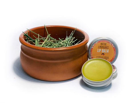 Bush Balm made specially for the lips containing the wild harvested Australian Central Desert native lemongrass; Cymbopogon Ambiguus.