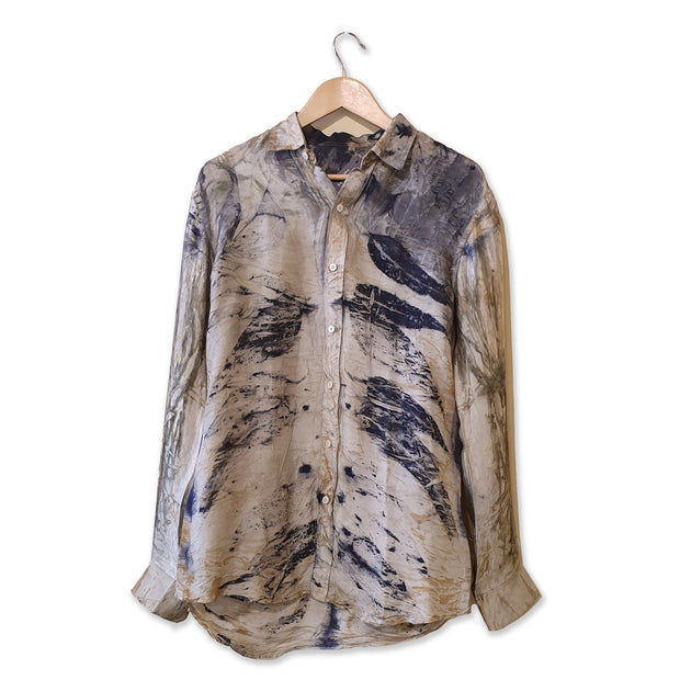 Men's silk long-sleeve bush dyed silk shirt (S) by Sharna Wurramarra, Anindilyakwa Arts