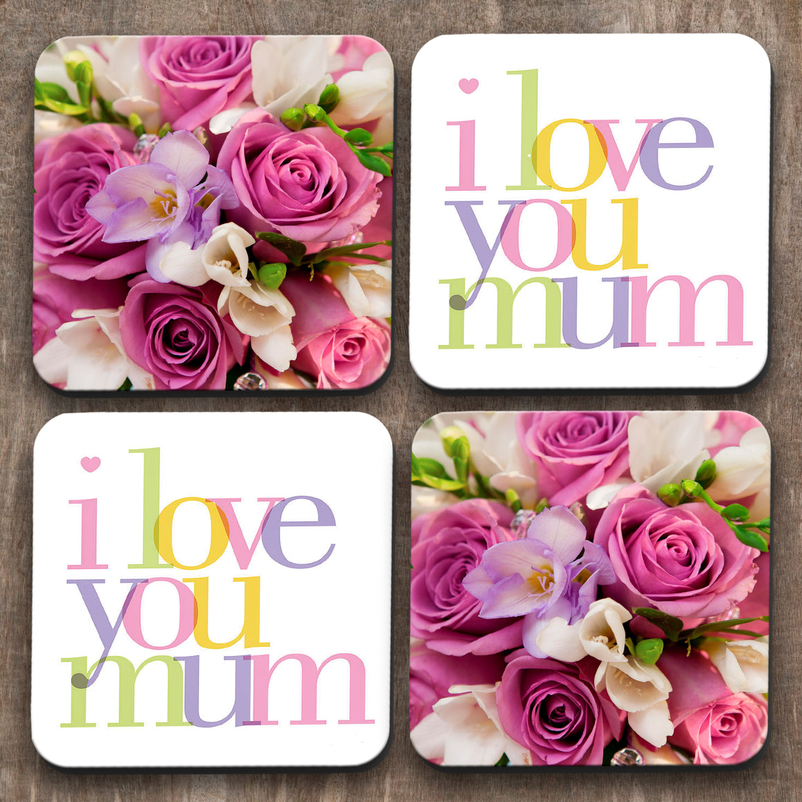 Love Mum x 4 Coasters C0017