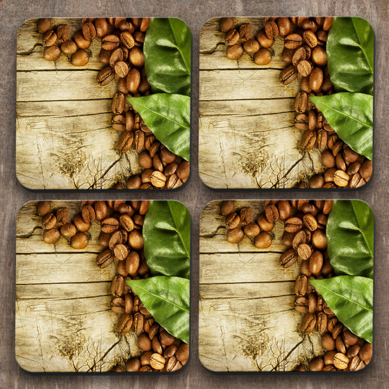 Coffee Beans x 4 Coasters C0035