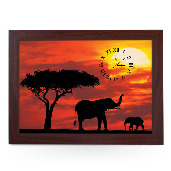 Wooden Picture Frame Clock. CL357 African Sunset Elephant Silhouet