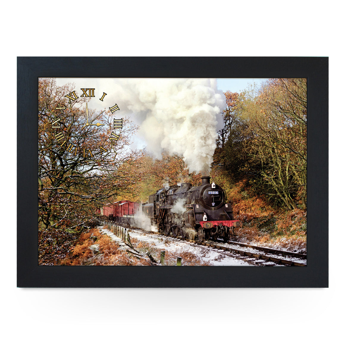 Wooden Picture Frame Clock. CL JFS00034 Beck Hole, North York Moors Railway Train