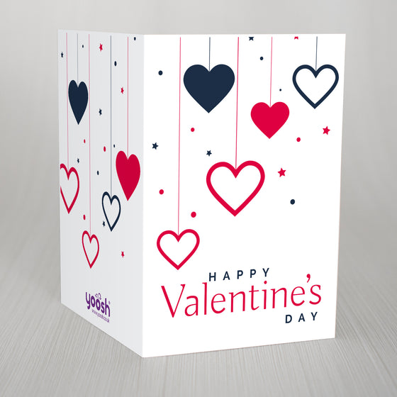 "New* Dropping Hearts Valentines A5 Card ""Happy Valentines Day"""
