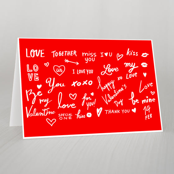 Words Of Love Valentines A5 Card