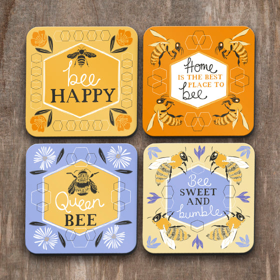 Bee Happy Coasters Set of 4 by Vicky Yorke Design