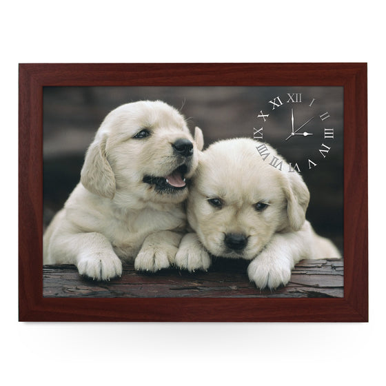 Wooden Picture Frame Clock. CL002 Golden Retriever Puppies