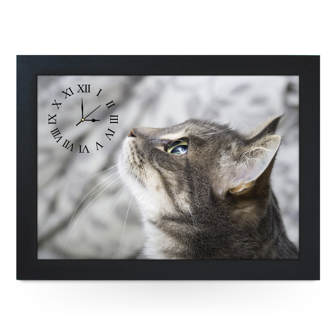 Wooden Picture Frame Clock. CL177 Grey Cat