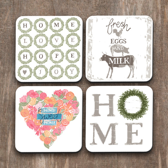 Home Farm Coasters Set of 4 by Vicky Yorke Design