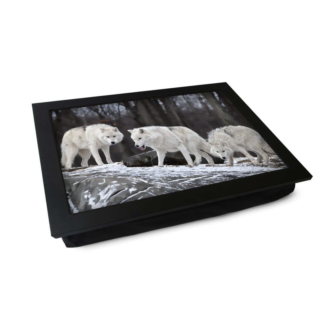 Three White Wolves Lap Tray - L0003