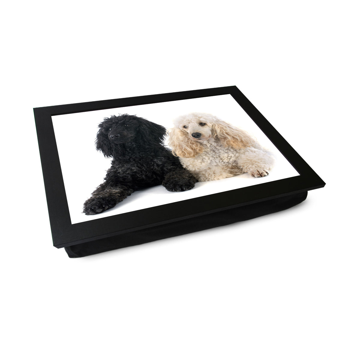 Black & White Poodle Dogs Lap Tray - L0110