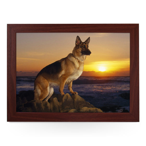 German Shepherd on Beach Dog Lap Tray - L0136