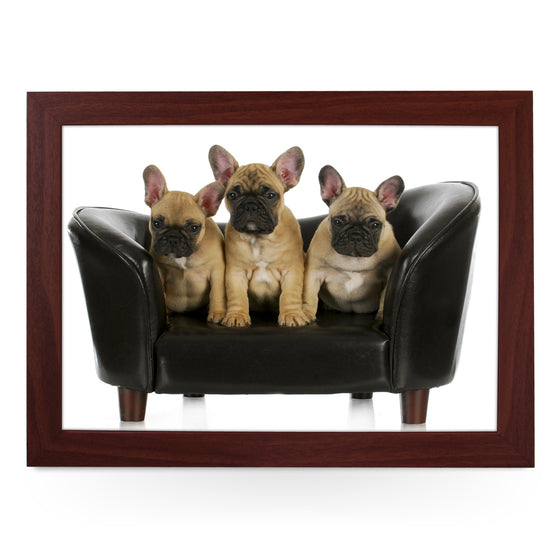 French Bulldog Puppies On Sofa Lap Tray - L0137