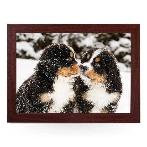 Bernese Mountain Puppies in the Snow Lap Tray - L0160