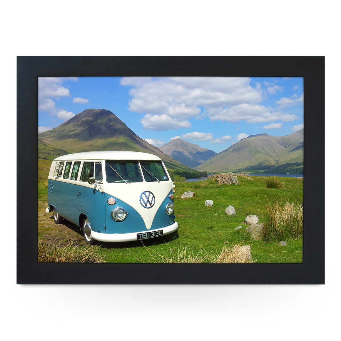 VW Camper in Blue on Hillside Lap Tray - L0166