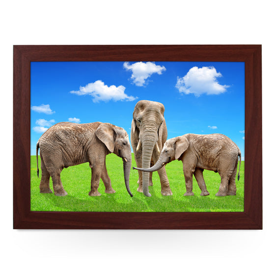 Elephants on Grass Lap Tray - L0182