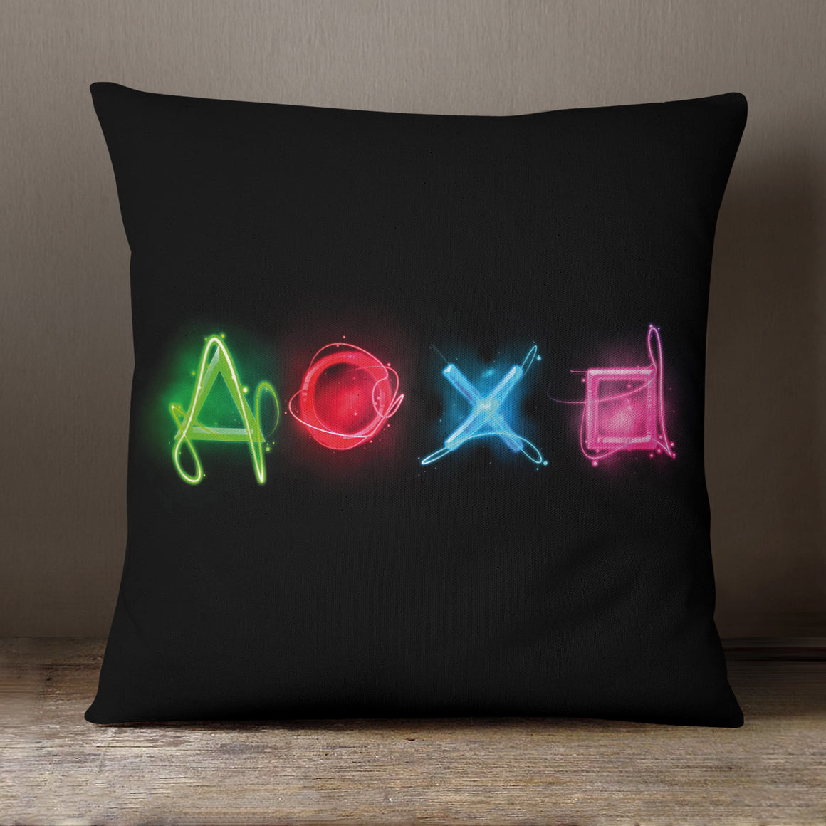 Neon Playstation Buttons  - 40 x 40 cm Cushion (L0201)