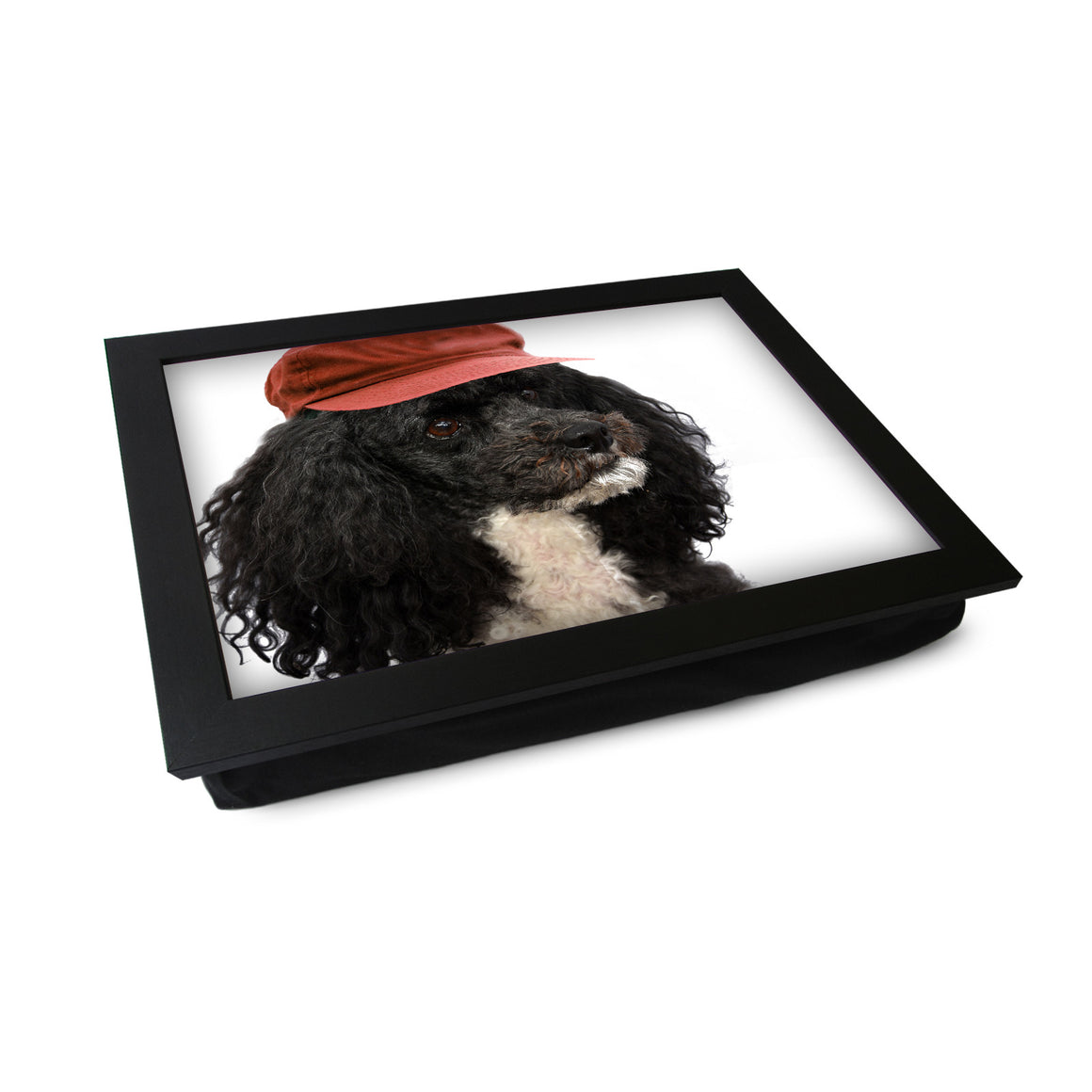 Harlequin Poodle Wearing a Hat Lap Tray - L0224
