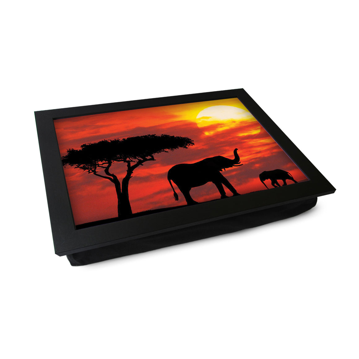 African Sunset Elephant Silhouette Lap Tray - L0357