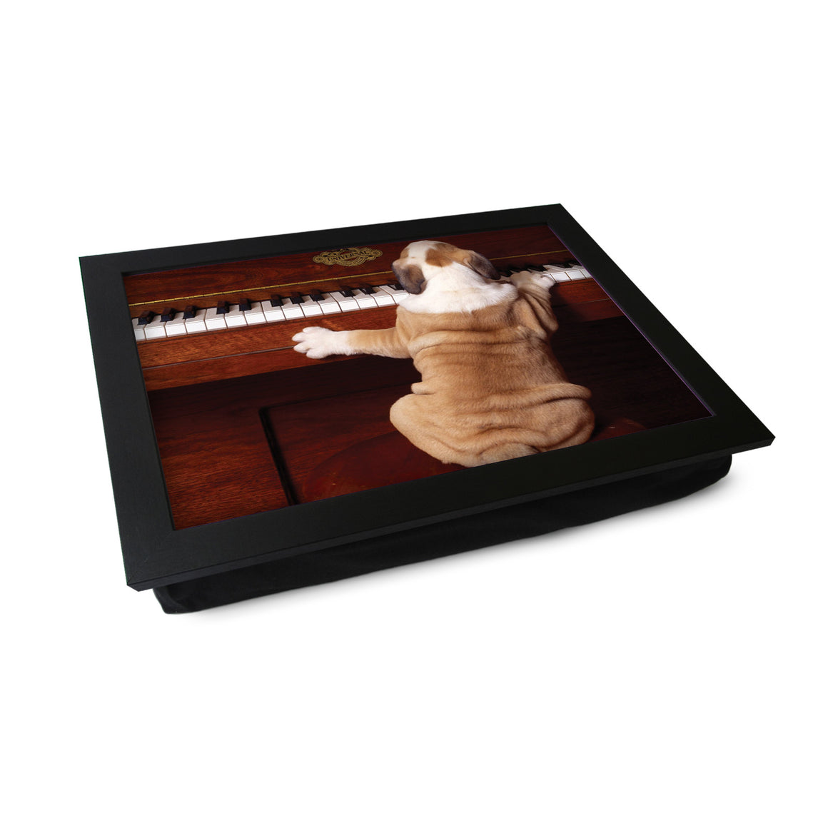 Bulldog Puppy Playing Piano Lap Tray - L0358