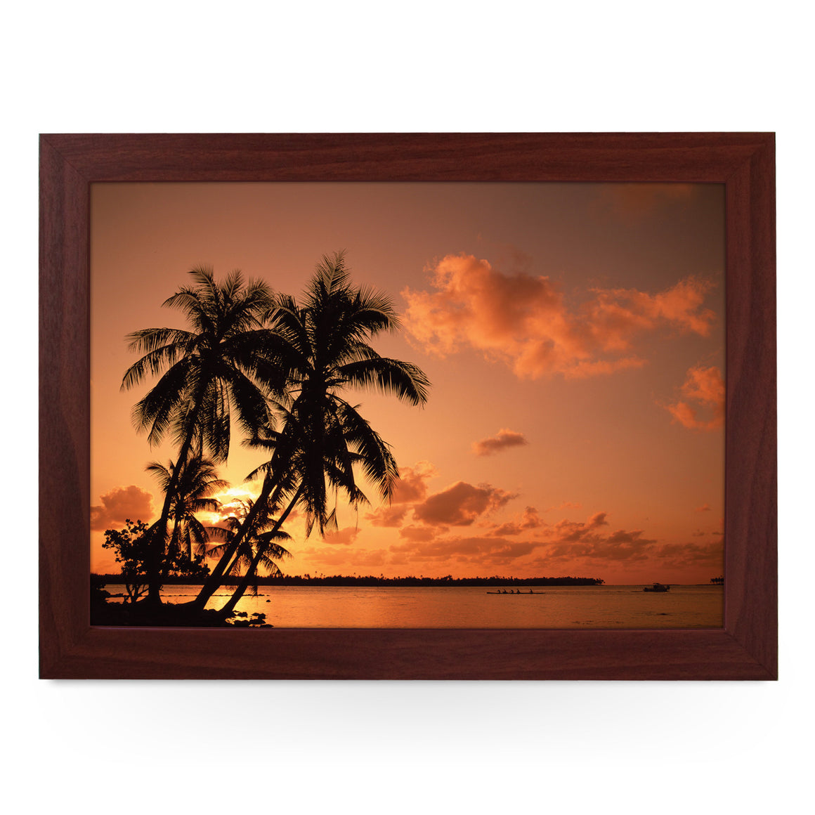 Palm Tree Silhouette At Sunset Lap Tray - L0362