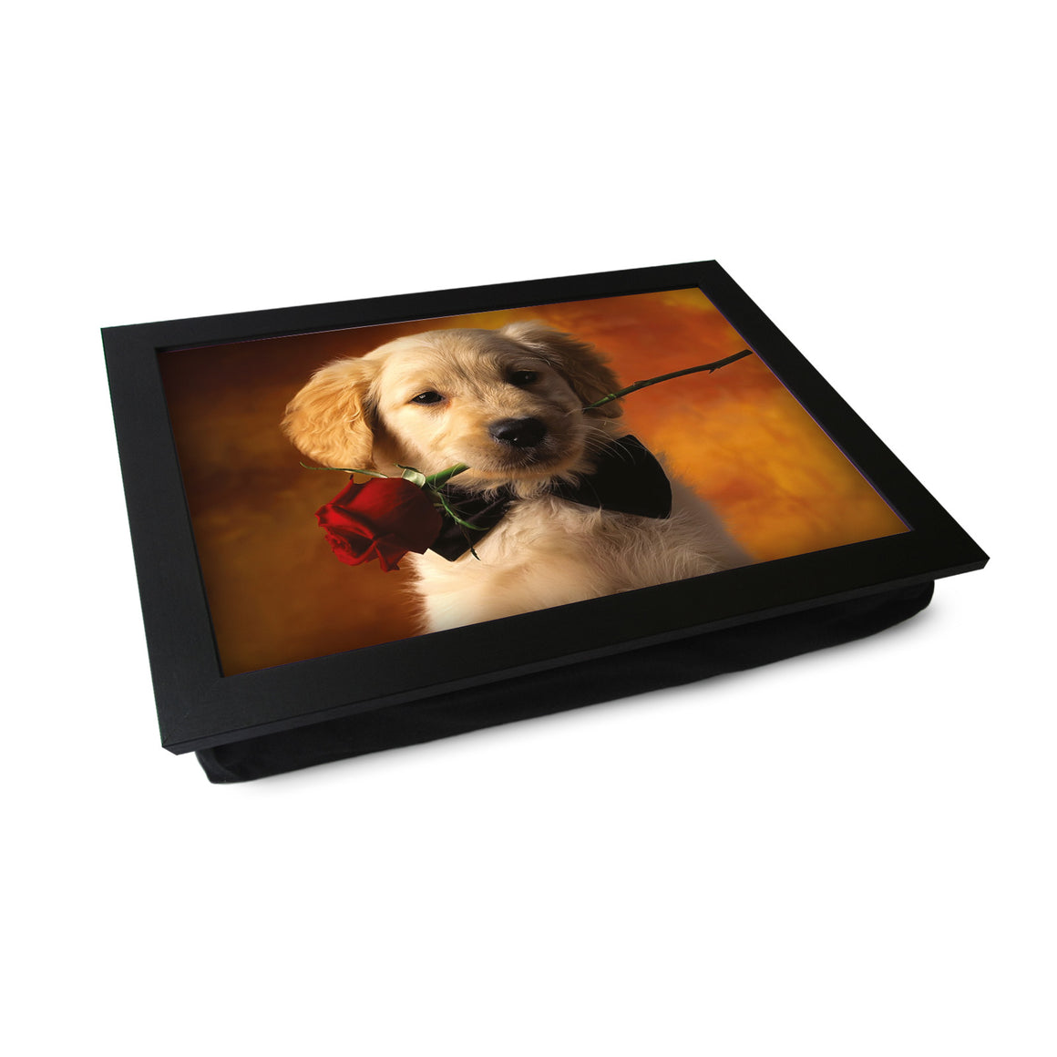 Golden Retriever Puppy With Rose Lap Tray - L0374