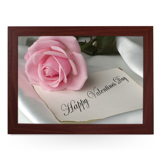 Happy Valentine's Day Pink Rose Lap Tray - L0417