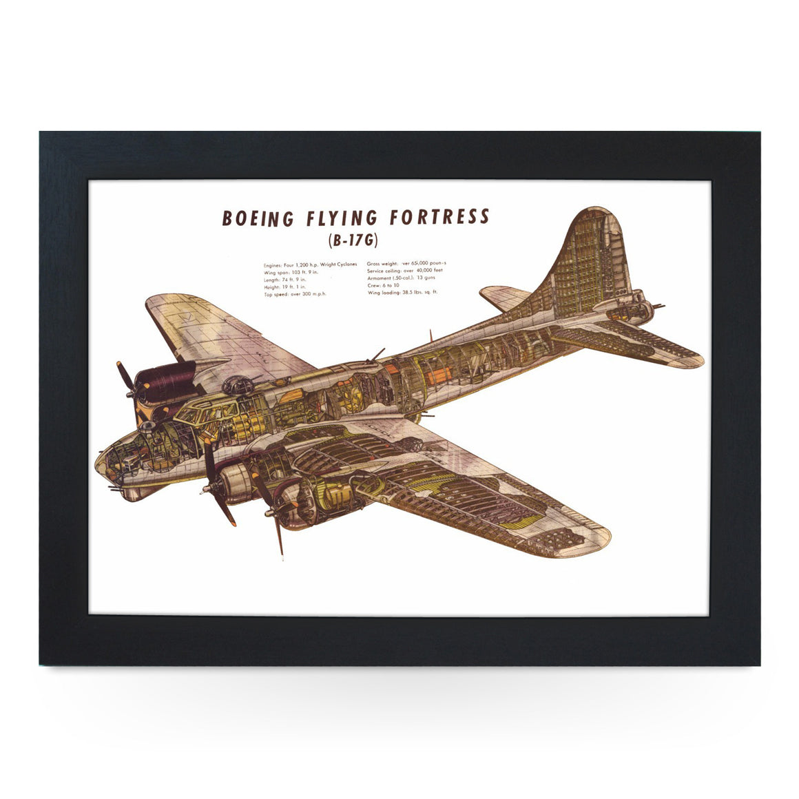 Boeing Flying Fortress Cut Away Drawing Lap Tray - L0424