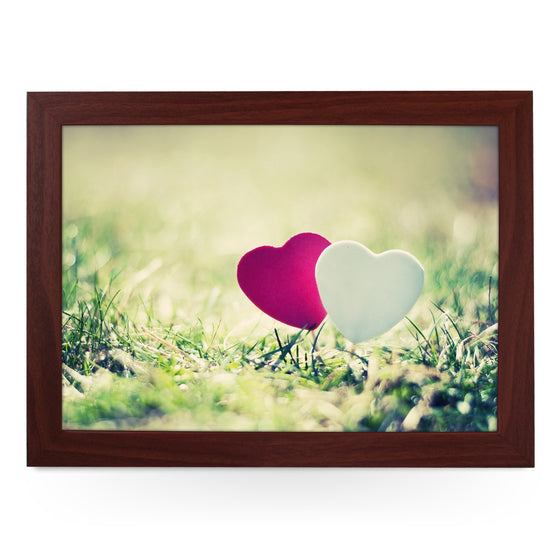 Pink & White Hearts In Grass Lap Tray - L0456