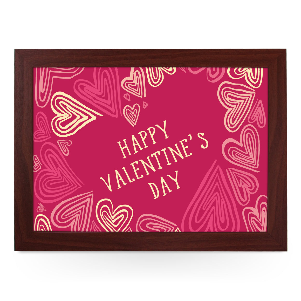 Happy Valentine's Day Drawn Hearts Lap Tray - L0457