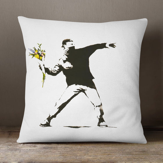 Banksy Bouquet Grenade  - 40 x 40 cm Cushion (L0468)