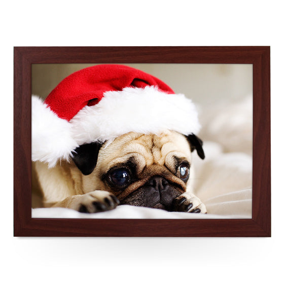 Pug Dog Wearing A Santa Hat Lap Tray - L0569