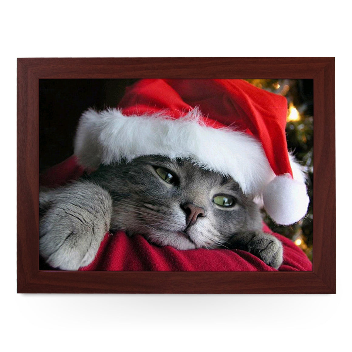 Cat Wearing A Santa Hat Lap Tray - L0570