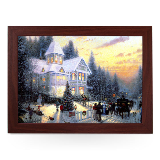 Victorian Christmas Scene Painting Lap Tray - L0571
