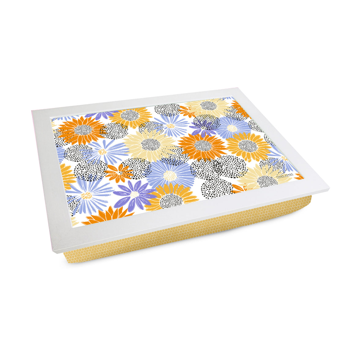 Bee Happy Flower Pattern Lap Tray by Vicky Yorke Designs
